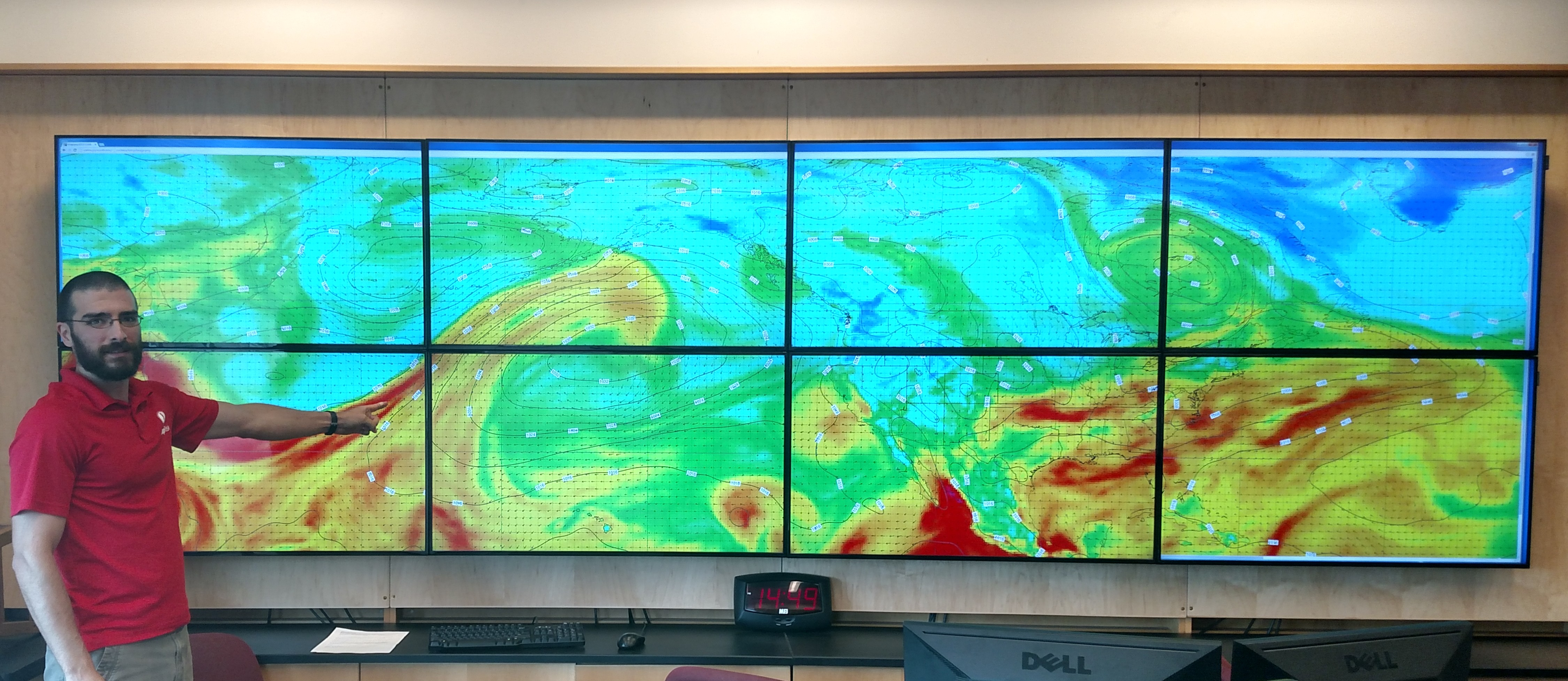 Dr. Jason Cordeira uses the mapwall to visualize atmospheric rivers.