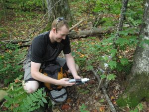 Graduate Student Working on Transect