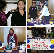 Four photos of health education and promotion related activities.