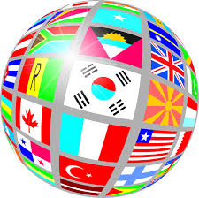 globe made of countries flags