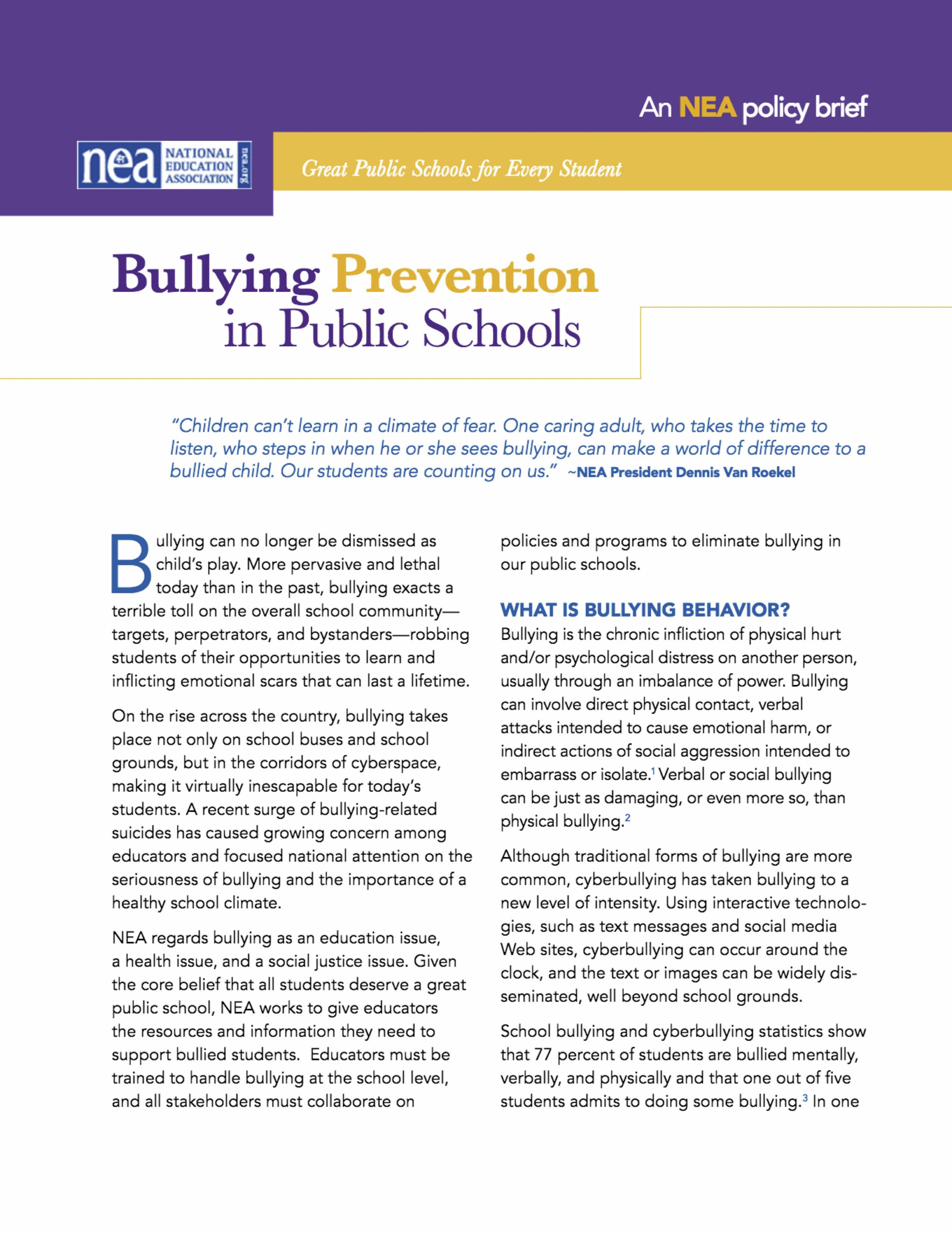 2012 Bullying-PreventioninPublicSchools-PolicyBrief